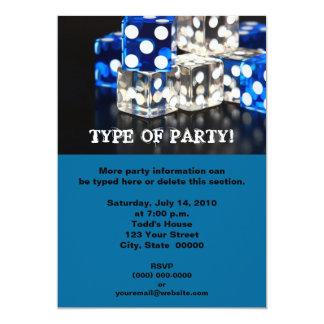 """Dice Party Invitations 5"""" X 7"""" Invitation Card"""