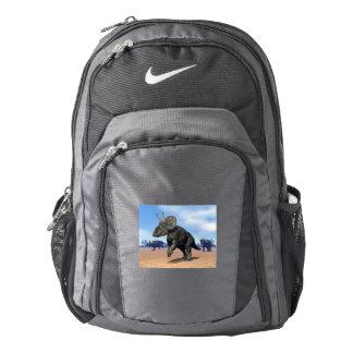 Diceratops/nedoceratops dinosaurs in the desert backpack