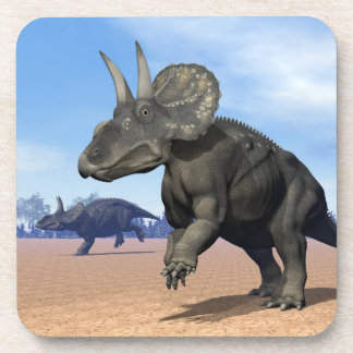 Diceratops/nedoceratops dinosaurs in the desert coaster