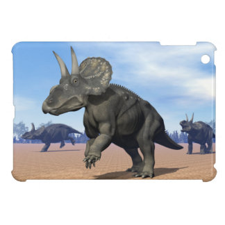 Diceratops/nedoceratops dinosaurs in the desert iPad mini cases
