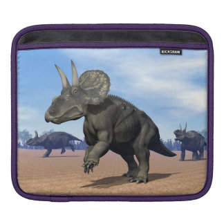 Diceratops/nedoceratops dinosaurs in the desert iPad sleeve