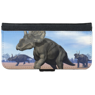 Diceratops/nedoceratops dinosaurs in the desert iPhone 6 wallet case