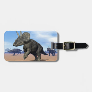 Diceratops/nedoceratops dinosaurs in the desert luggage tag