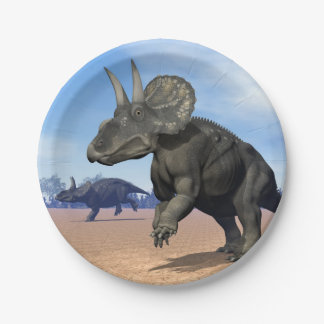 Diceratops/nedoceratops dinosaurs in the desert paper plate