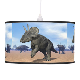 Diceratops/nedoceratops dinosaurs in the desert pendant lamp