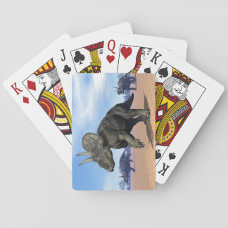 Diceratops/nedoceratops dinosaurs in the desert playing cards