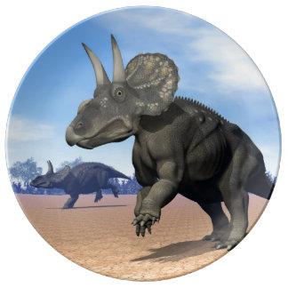 Diceratops/nedoceratops dinosaurs in the desert porcelain plates