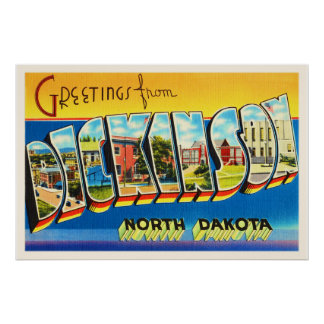 Dickinson North Dakota ND Vintage Travel Souvenir Poster