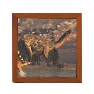 Dicraeosaurus and kentrosaurus dinosaurs - 3D rend Desk Organizer