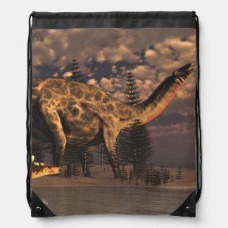 Dicraeosaurus and kentrosaurus dinosaurs - 3D rend Drawstring Bag