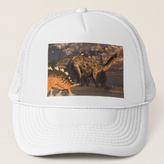 Dicraeosaurus and kentrosaurus dinosaurs - 3D rend Trucker Hat