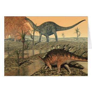 Dicraeosaurus and kentrosaurus dinosaurs card
