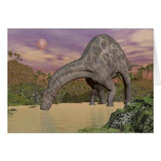 Dicraeosaurus dinosaur drinking - 3D render Card