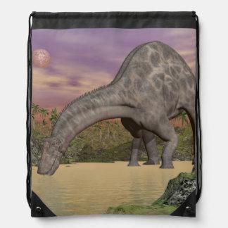 Dicraeosaurus dinosaur drinking - 3D render Drawstring Bag