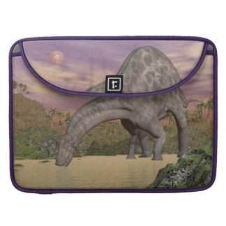 Dicraeosaurus dinosaur drinking - 3D render Sleeve For MacBooks