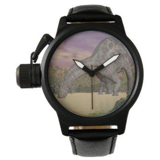 Dicraeosaurus dinosaur drinking - 3D render Wristwatch