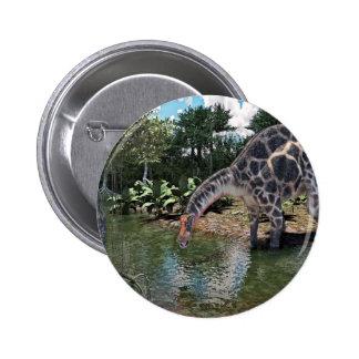Dicraeosaurus Dinosaur Feeding on a River 2 Inch Round Button