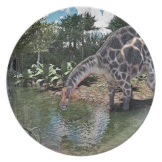 Dicraeosaurus Dinosaur Feeding on a River Party Plates