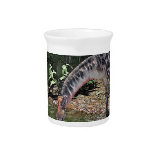 Dicraeosaurus Dinosaur Feeding on a River Pitcher