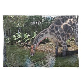 Dicraeosaurus Dinosaur Feeding on a River Placemat