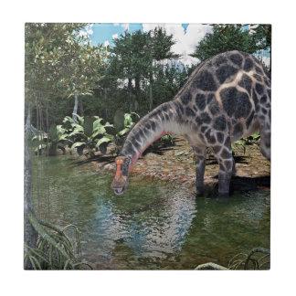 Dicraeosaurus Dinosaur Feeding on a River Tile