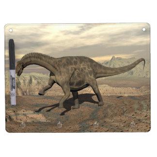 Dicraeosaurus dinosaur walking - 3D render Dry Erase Board With Keychain Holder