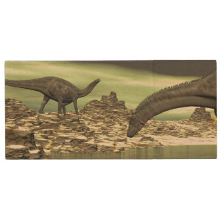 Dicraeosaurus dinosaurs - 3D render Wood USB Flash Drive