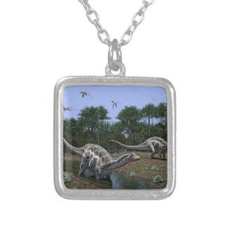 Dicraeosaurus Scene Silver Plated Necklace