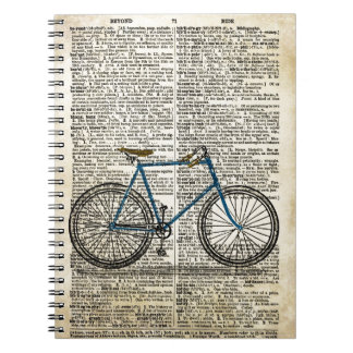 DICTIONARY Art Print Blue Bicycle Bike Vintage Notebook
