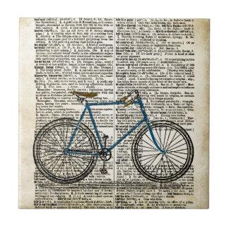 DICTIONARY Art Print Blue Bicycle Bike Vintage Ceramic Tile