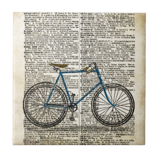 DICTIONARY Art Print Blue Bicycle Bike Vintage Tiles