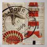dictionary prints art coastal seashell lighthouse