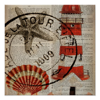 dictionary prints art coastal seashell lighthouse