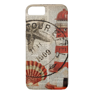 dictionary prints art coastal seashell lighthouse Case-Mate iPhone case
