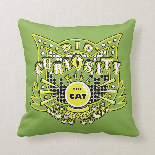 Did Curiosity kill the Cat (Yellow) Throw Pillow