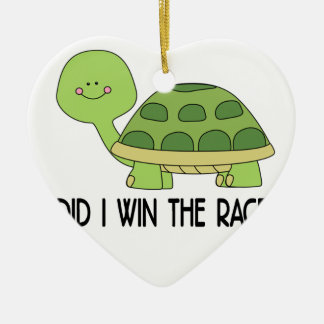 Did I Win The Race.png Ceramic Heart Ornament