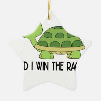Did I Win The Race.png Ceramic Star Ornament