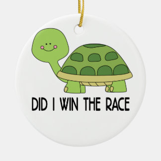 Did I Win The Race.png Round Ceramic Ornament