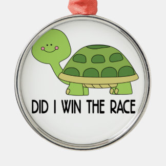 Did I Win The Race.png Silver-Colored Round Ornament