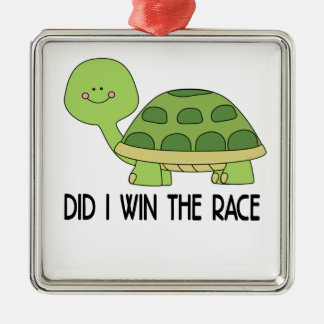 Did I Win The Race.png Silver-Colored Square Ornament