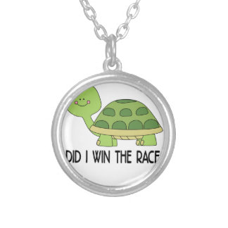 Did I Win The Race.png Silver Plated Necklace