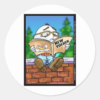 Did New Yorker Kill Humpty Dumpty? Cartoon Gifts Round Sticker