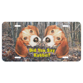 Did You Say Rabbit? Beagle Aluminum License Plate