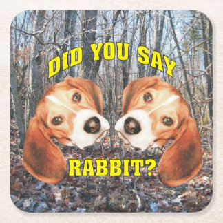 Did You Say Rabbit? Beagle Square Paper Coaster