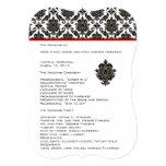 Die Cut Black Damask Red Trim Wedding Program