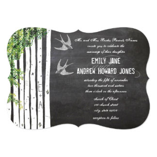 Die Cut Chalkboard Love Bird Birch Tree Wedding Card