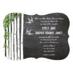 Die Cut Chalkboard Love Bird Birch Tree Wedding Custom Announcements
