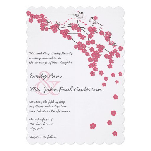 Die Cut Pink Cherry Blossom Chickadee Pink Wedding Personalized Invites