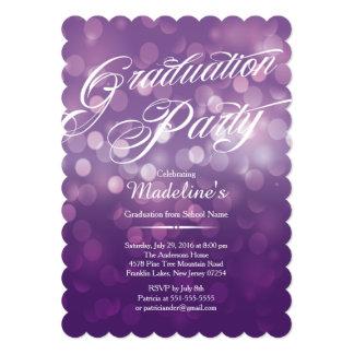 Die Cut Purple Bokeh Typograph Graduation Party Card