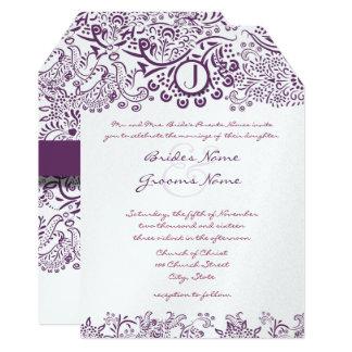 Die Cut Purple Love Birds Damask Monogram Weddings Card